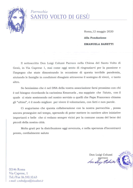lettera di Ringraziamento Chiesa del Santo Volto